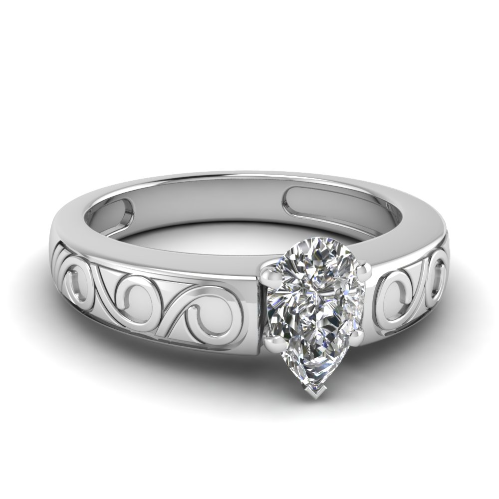 filigree pear shaped solitaire engagement ring in FDENR6668PER NL WG