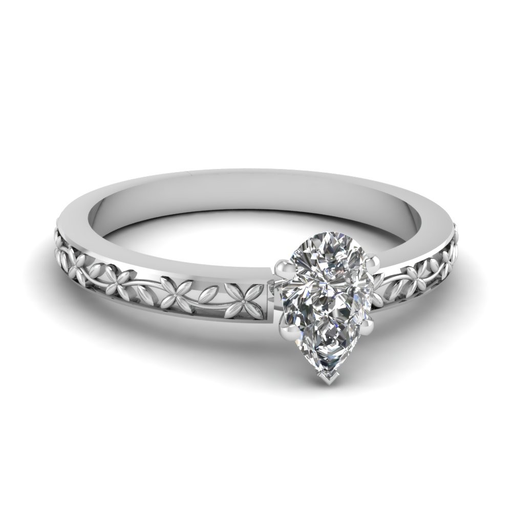 floral engraved pear diamond solitaire engagement ring in FDENS3552PER NL WG