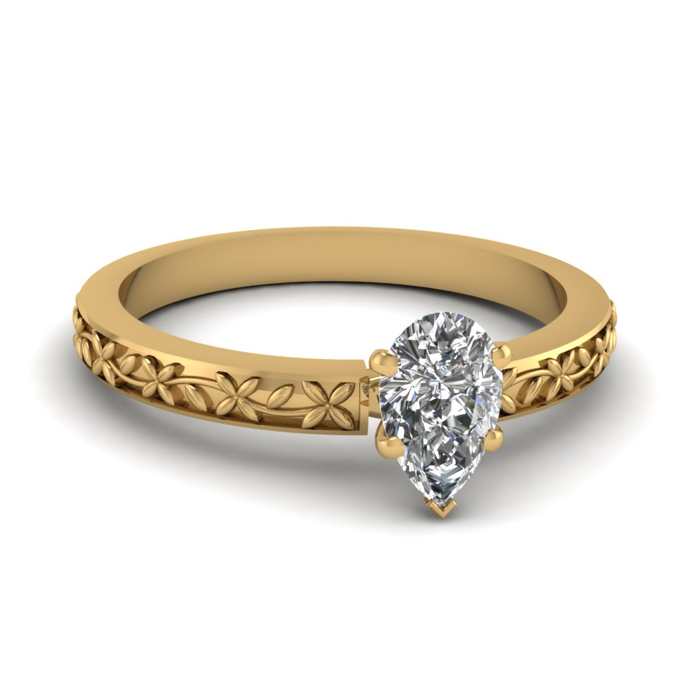 floral engraved pear diamond solitaire engagement ring in FDENS3552PER NL YG