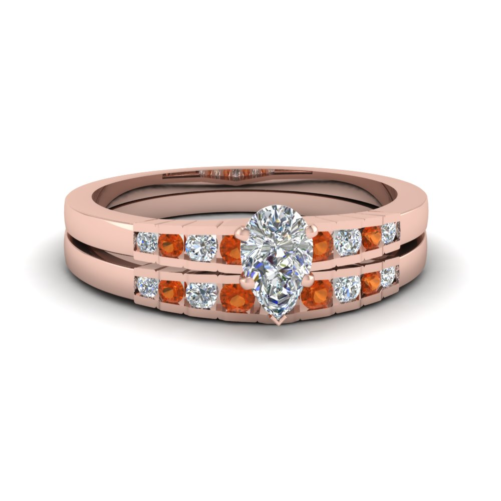 pear shaped diamond graduated accent wedding set with orange sapphire in FDENS3116PEGSAOR NL RG