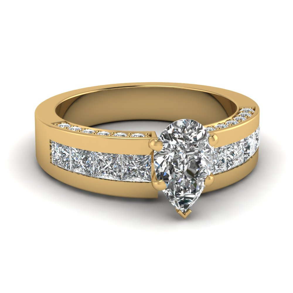Channel And Pave Diamond Accents With Pear Gold Engagement Ring