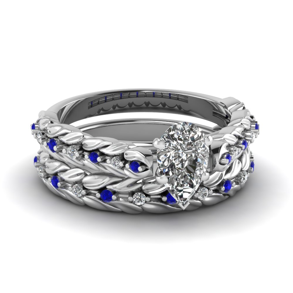 Pear Shaped Diamond Leaf Design Wedding Ring Set With Blue Sapphire In FD121970PEGSABL NL WG