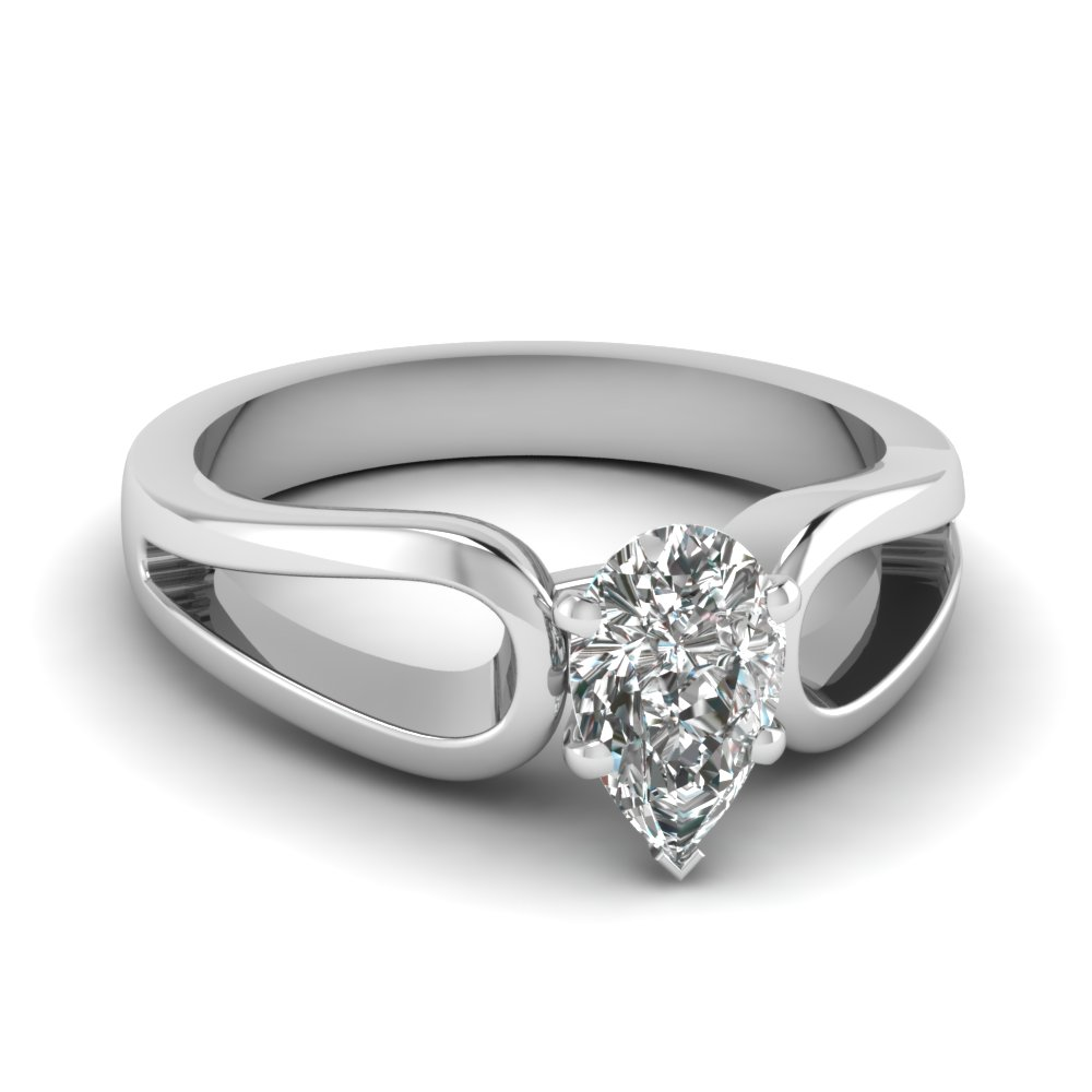 pear shaped diamond loop duet solitaire ring in 14K white gold FD1149PER NL WG