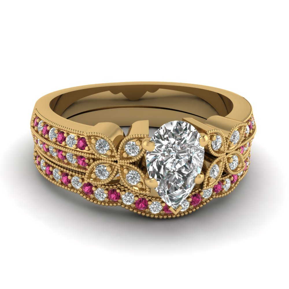 pear-shaped-diamond-milgrain-petal-wedding-set-with-dark-pink-sapphire-in-14K-yellow-gold-FDENS3308PEGSADRPI-NL-YG