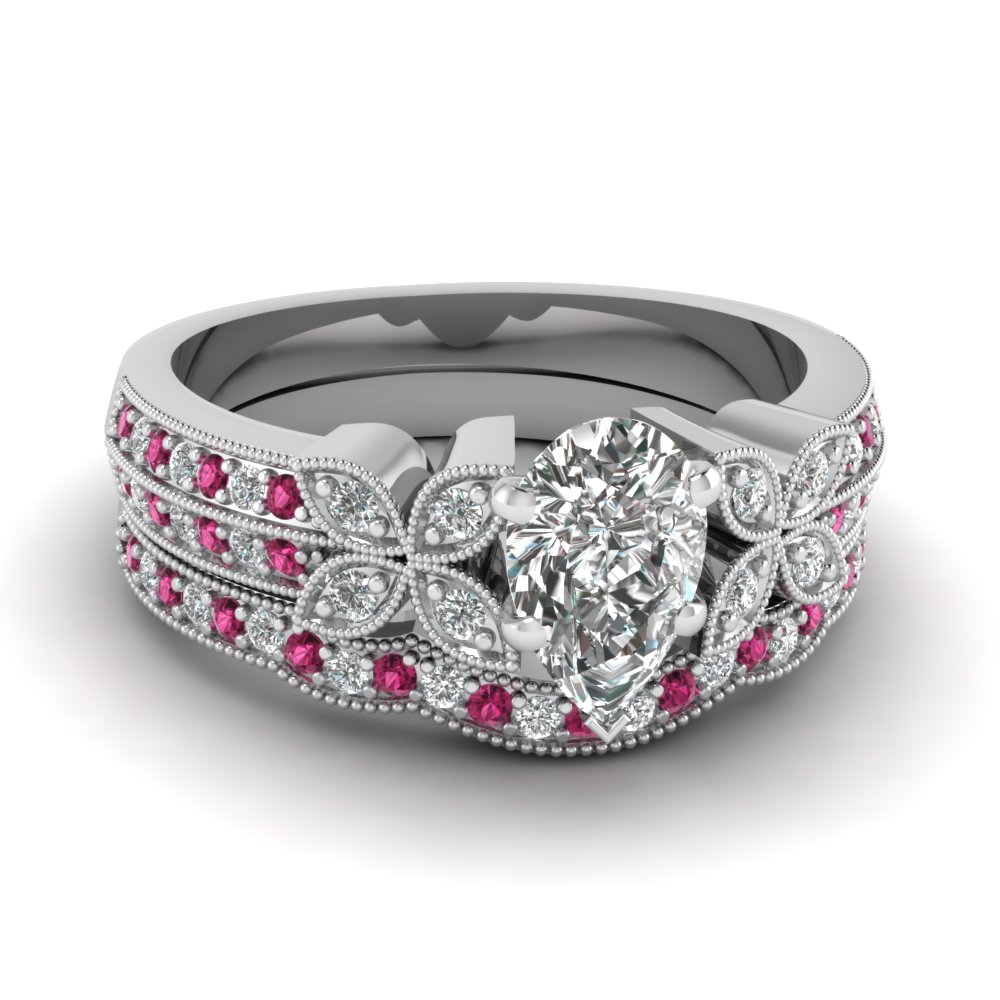 pear-shaped-diamond-milgrain-petal-wedding-set-with-dark-pink-sapphire-in-950-Platinum-FDENS3308PEGSADRPI-NL-WG