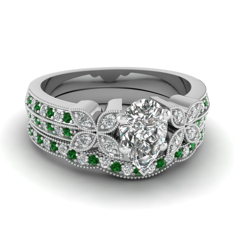 pear-shaped-diamond-milgrain-petal-wedding-set-with-green-emerald-in-14K-white-gold-FDENS3308PEGEMGR-NL-WG