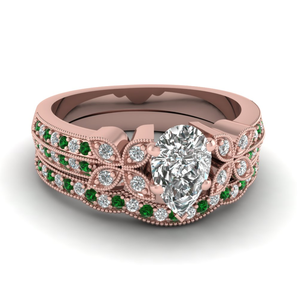 pear-shaped-diamond-milgrain-petal-wedding-set-with-green-emerald-in-18K-rose-gold-FDENS3308PEGEMGR-NL-RG