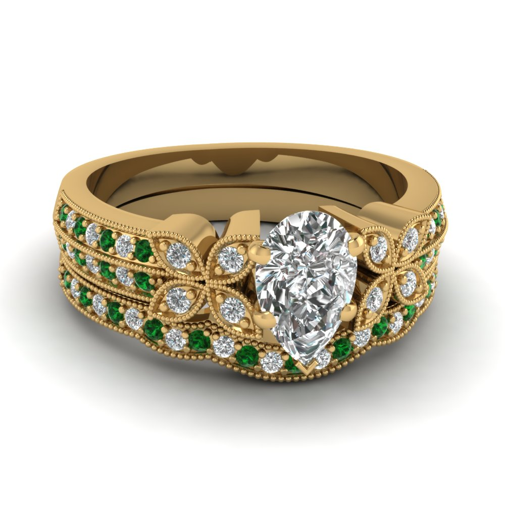milgrain petal pear moissanite wedding ring set with emerald in FDENS3308PEGEMGR NL YG