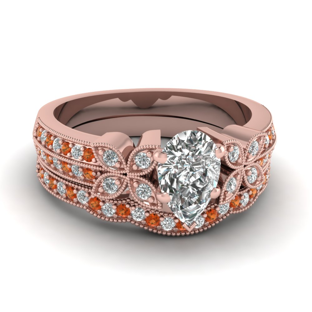 milgrain petal pear diamond wedding ring set with orange sapphire in FDENS3308PEGSAOR NL RG