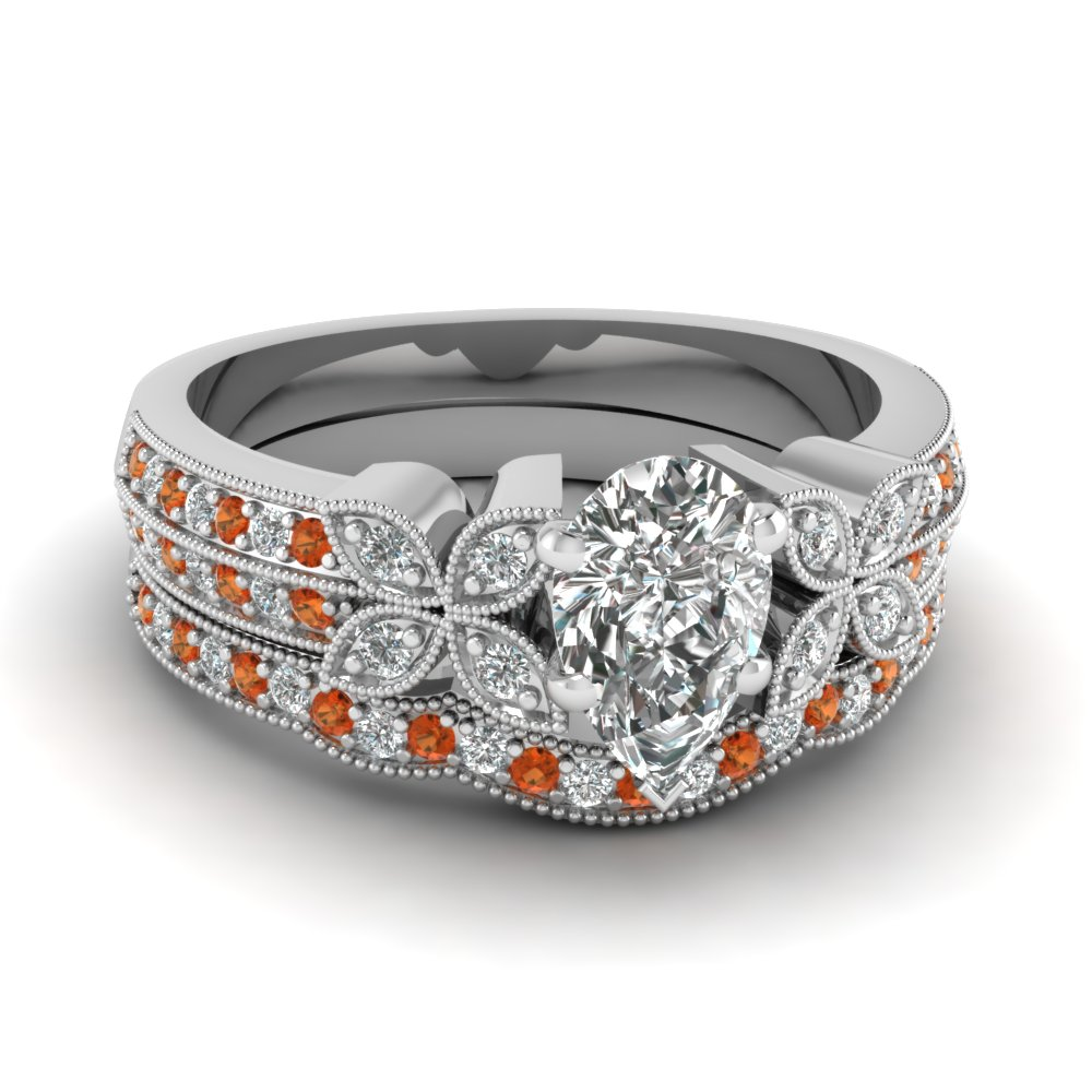 pear-shaped-diamond-milgrain-petal-wedding-set-with-orange-sapphire-in-14K-white-gold-FDENS3308PEGSAOR-NL-WG