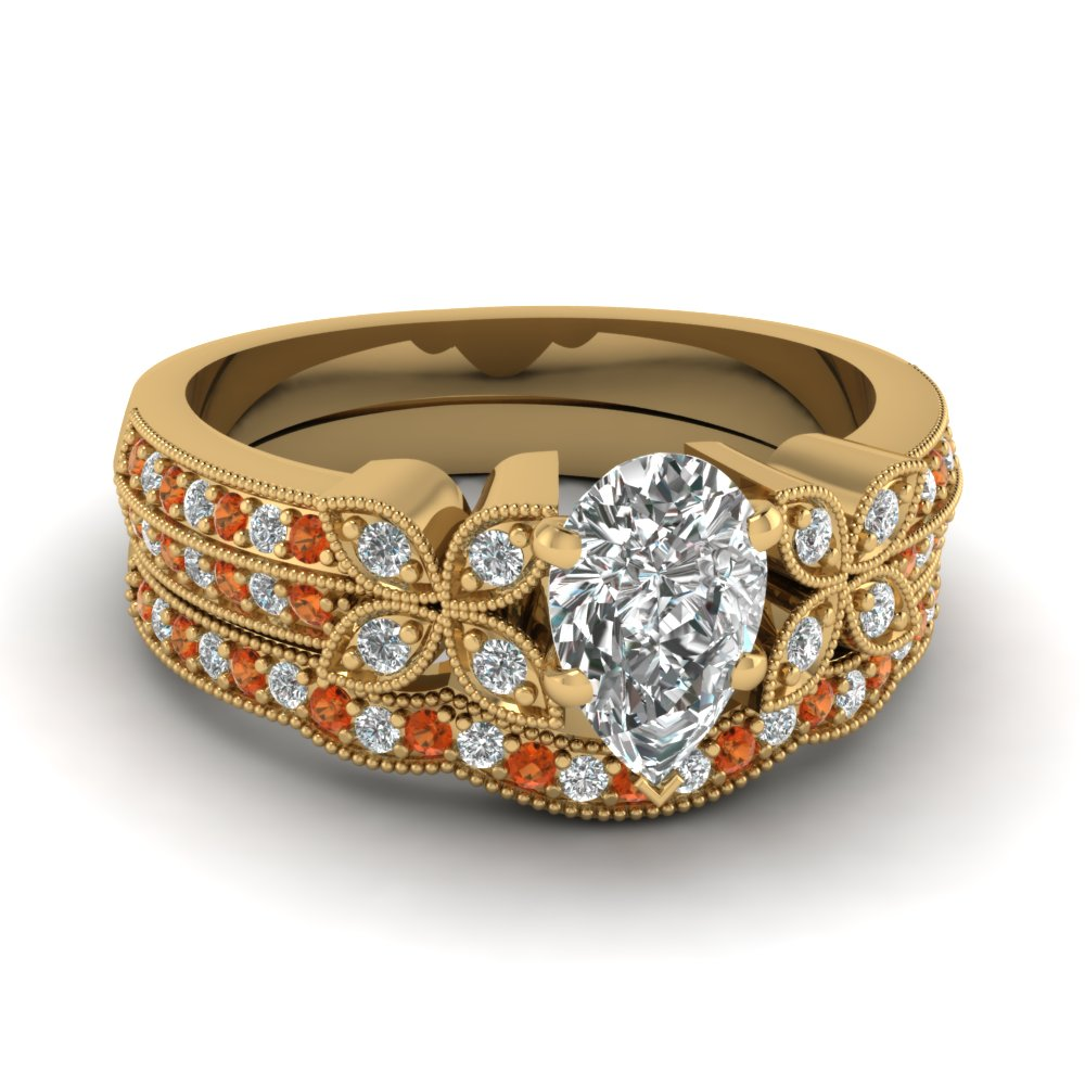 pear-shaped-diamond-milgrain-petal-wedding-set-with-orange-sapphire-in-18K-yellow-gold-FDENS3308PEGSAOR-NL-YG