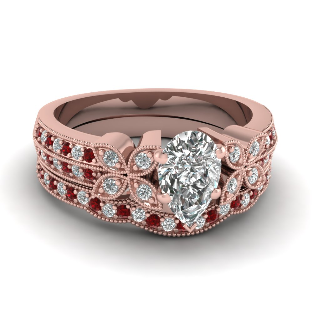 pear-shaped-diamond-milgrain-petal-wedding-set-with-red-ruby-in-14K-rose-gold-FDENS3308PEGRUDR-NL-RG