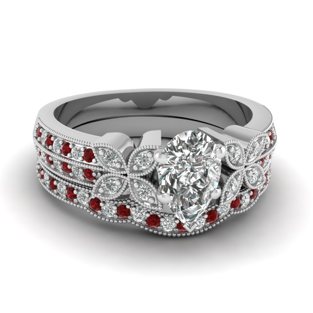 pear-shaped-diamond-milgrain-petal-wedding-set-with-red-ruby-in-14K-white-gold-FDENS3308PEGRUDR-NL-WG