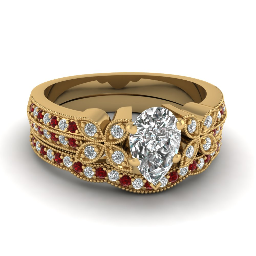 pear-shaped-diamond-milgrain-petal-wedding-set-with-red-ruby-in-18K-yellow-gold-FDENS3308PEGRUDR-NL-YG
