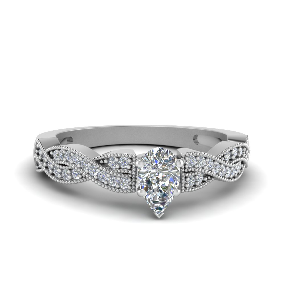 pear shaped diamond milgrain twisted engagement ring in FDENS3031PER NL WG.jpg