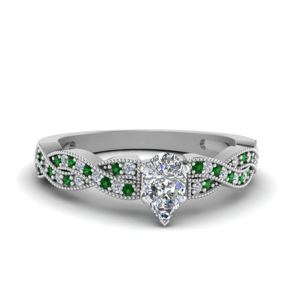 pear shaped diamond milgrain twisted ring with emerald in FDENS3031PERGEMGR NL WG.jpg