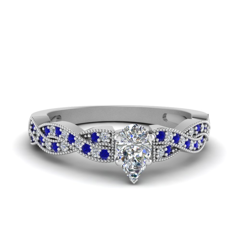 pear shaped diamond milgrain twisted ring with sapphire in FDENS3031PERGSABL NL WG.jpg