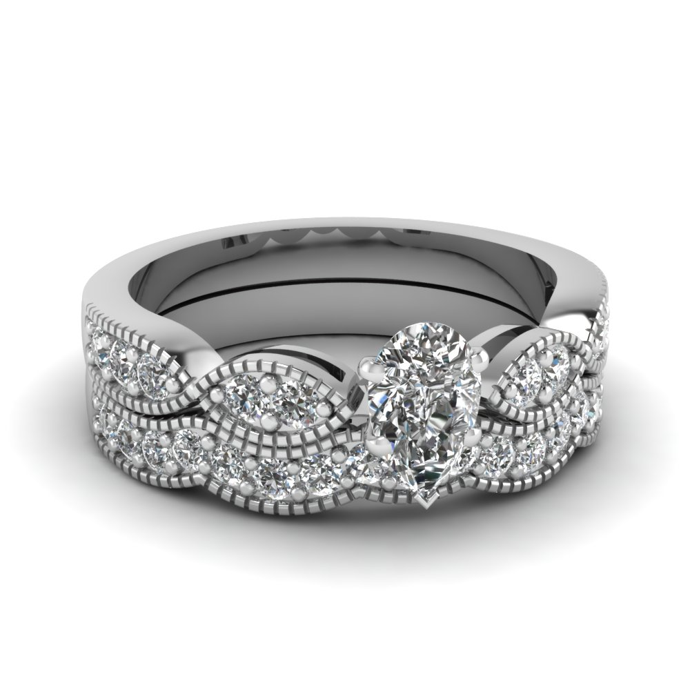 pear shaped diamond milgrain weave wedding set in 14K white gold FDENS3053PE NL WG