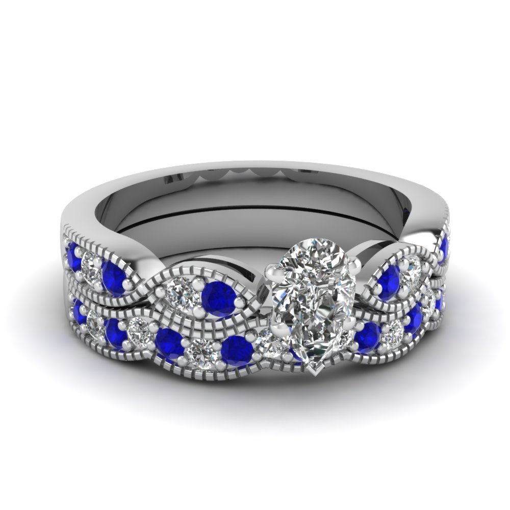 pear shaped diamond milgrain weave wedding set with sapphire in 14K white gold FDENS3053PEGSABL NL WG