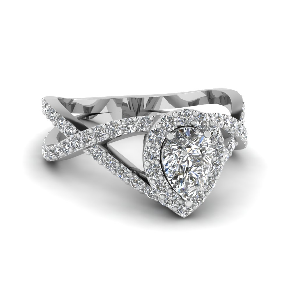 Pear Cut Halo Diamond Rings