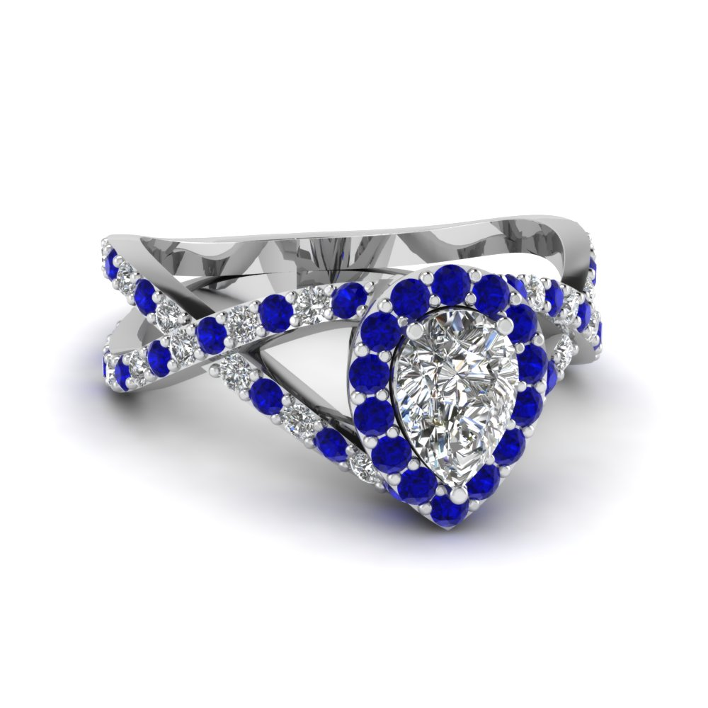 Sapphire Pear Cut Entwine Ring