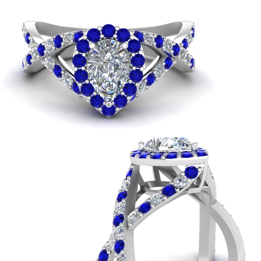 diamond pear entwine halo engagement ring with sapphire in FD1046PERGSABLANGLE3 NL WG.jpg