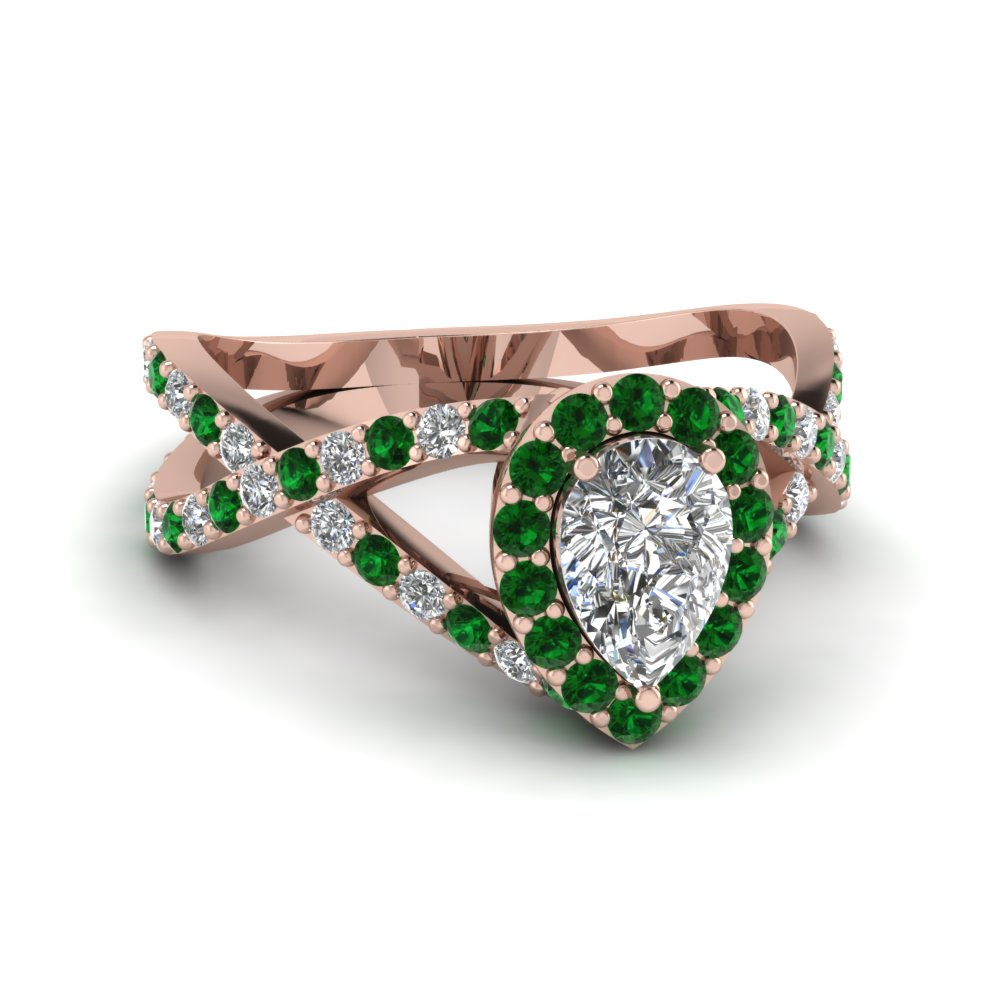 diamond pear entwine halo engagement ring with emerald in 14K rose gold FD1046PERGEMGR NL RG