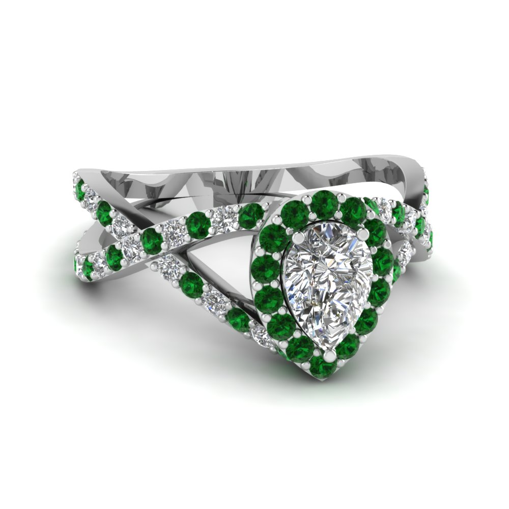 diamond pear entwine halo engagement ring with emerald in 950 Platinum FD1046PERGEMGR NL WG