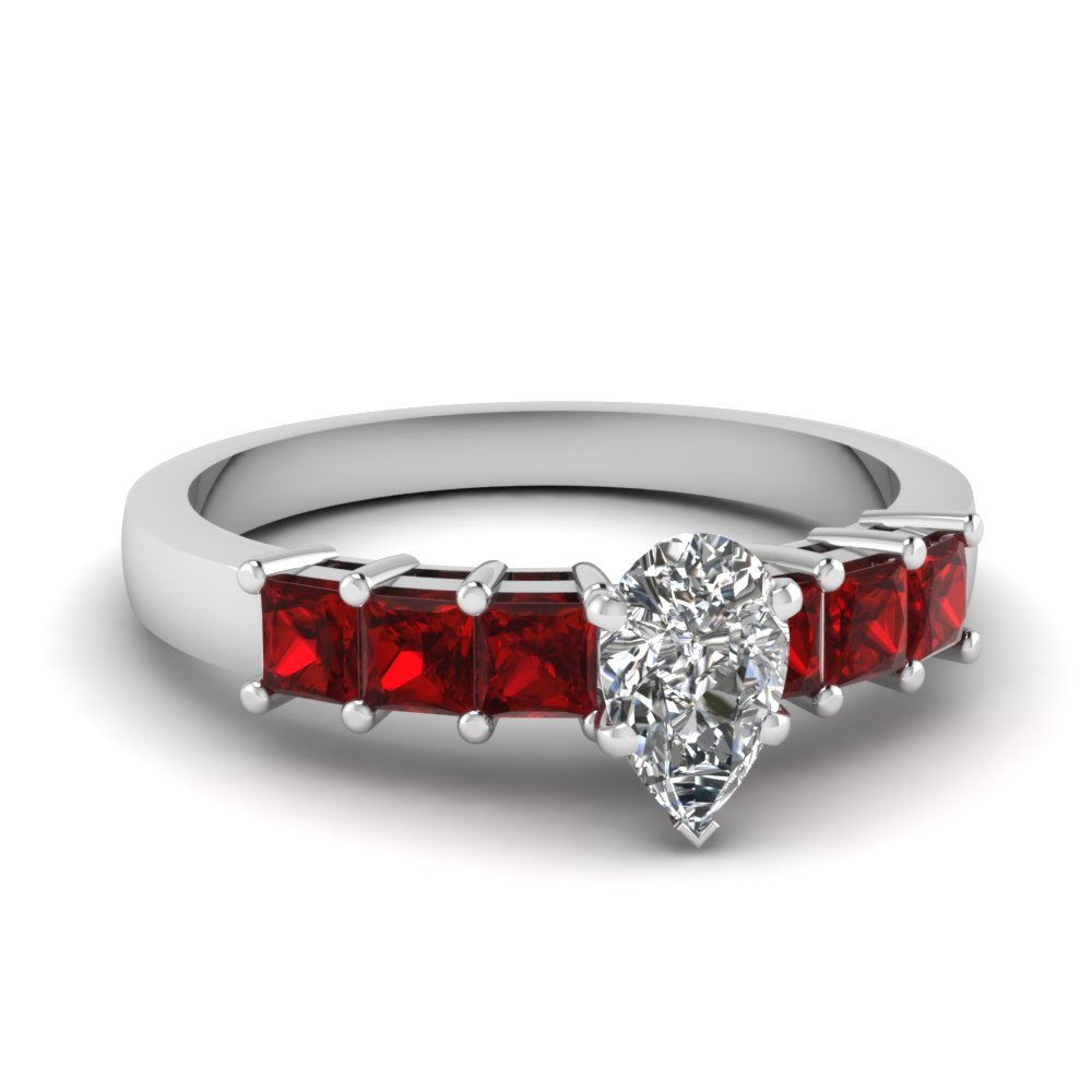 pear shaped basket prong 7 stone ruby ring in 14K white gold FDENS1027PERGRUDR NL WG GS