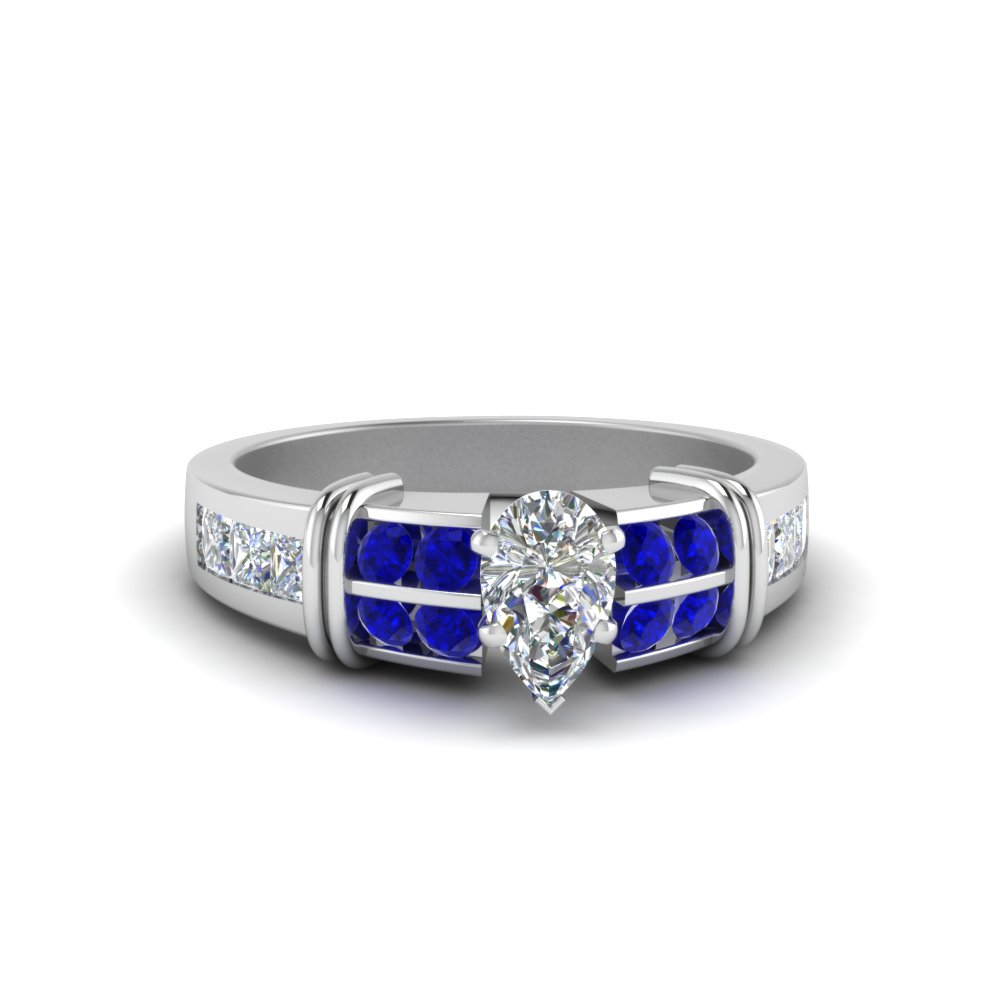 1.5 carat diamond pear shaped channel engagement ring with sapphire in 14K white gold FDENR2191PERGSABL NL WG