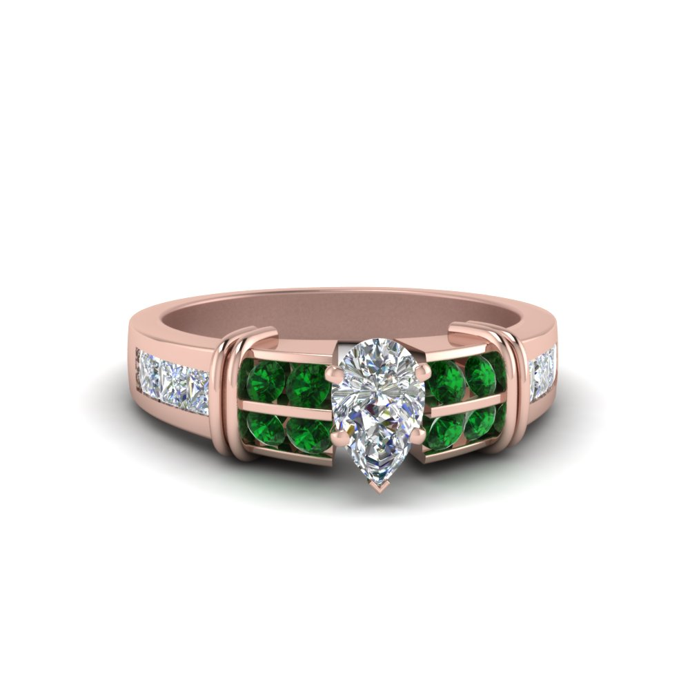 pear shaped diamond ring with emerald in FDENR2191PERGEMGR NL RG