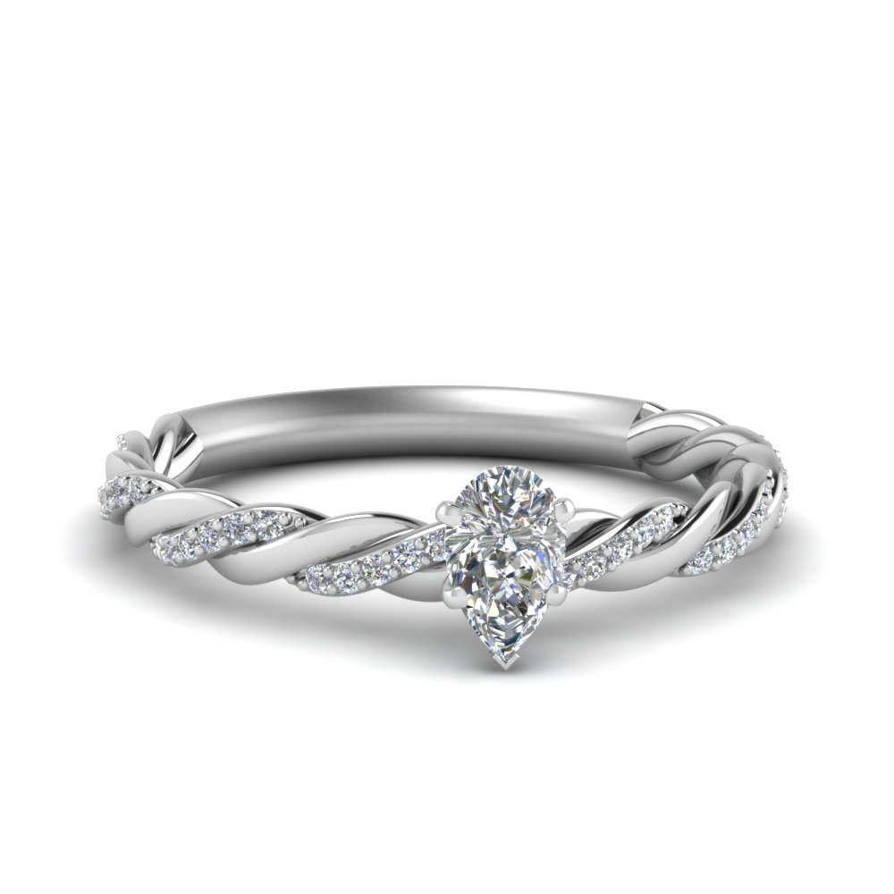 twisted vine pear diamond engagement ring for women in FD122673PER NL WG