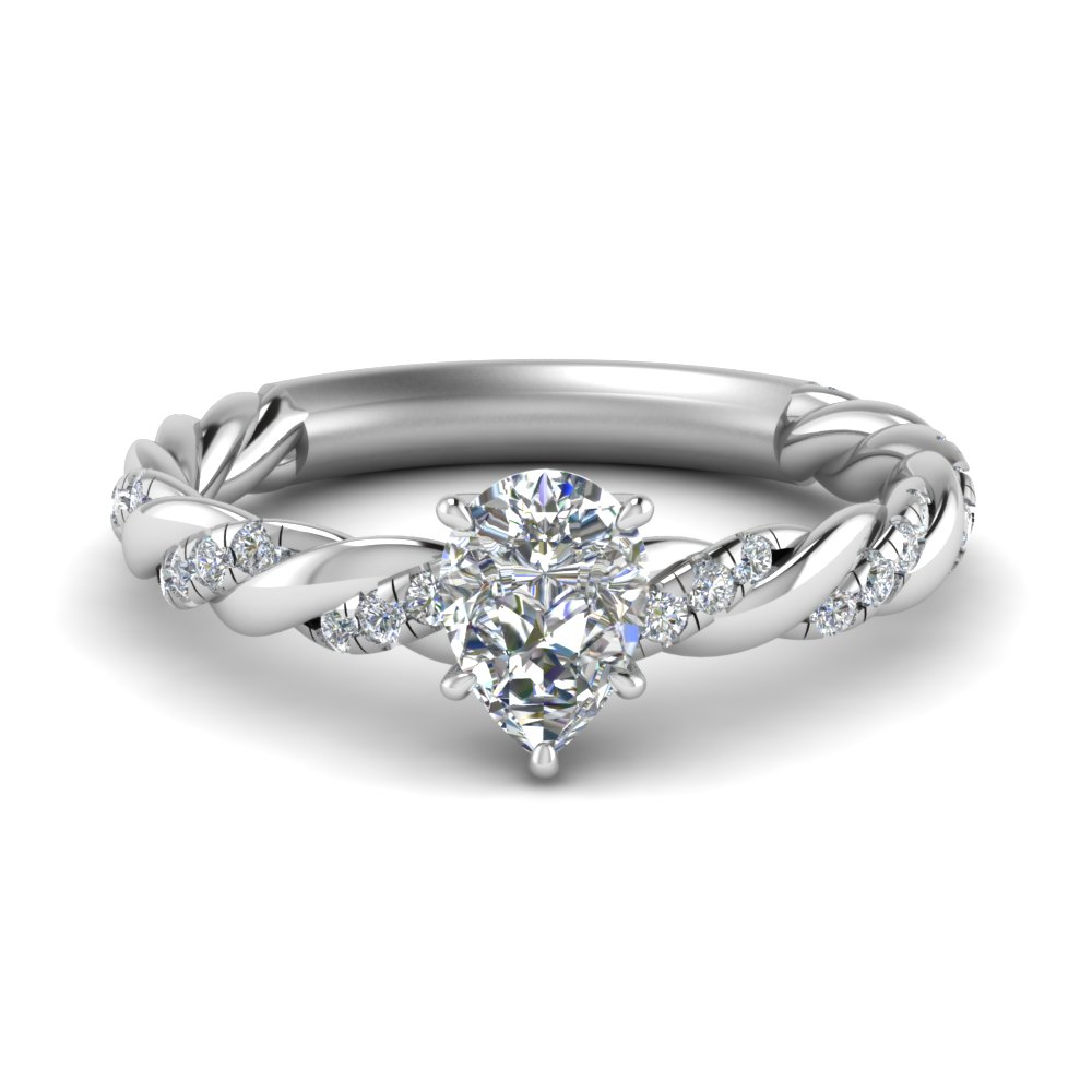 twisted vine pear diamond engagement ring for women in FD9127PER NL WG