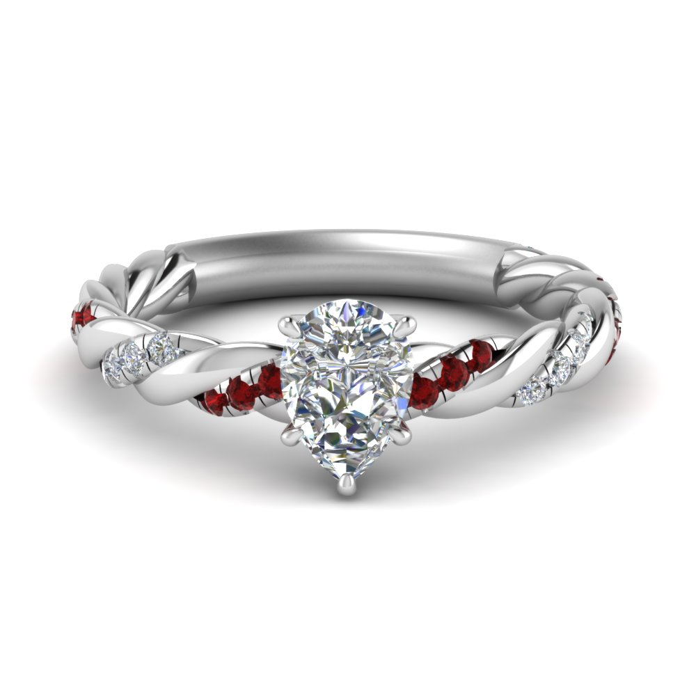 twisted vine pear diamond engagement ring for women with ruby in FD9127PERGRUDR NL WG