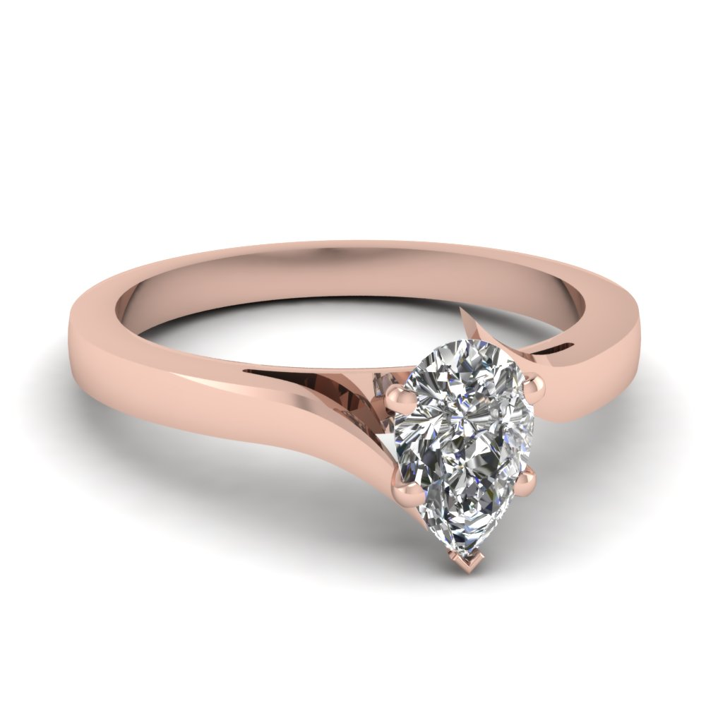 pear shaped diamond serenity solitaire ring in 14K rose gold FD1020PER NL RG
