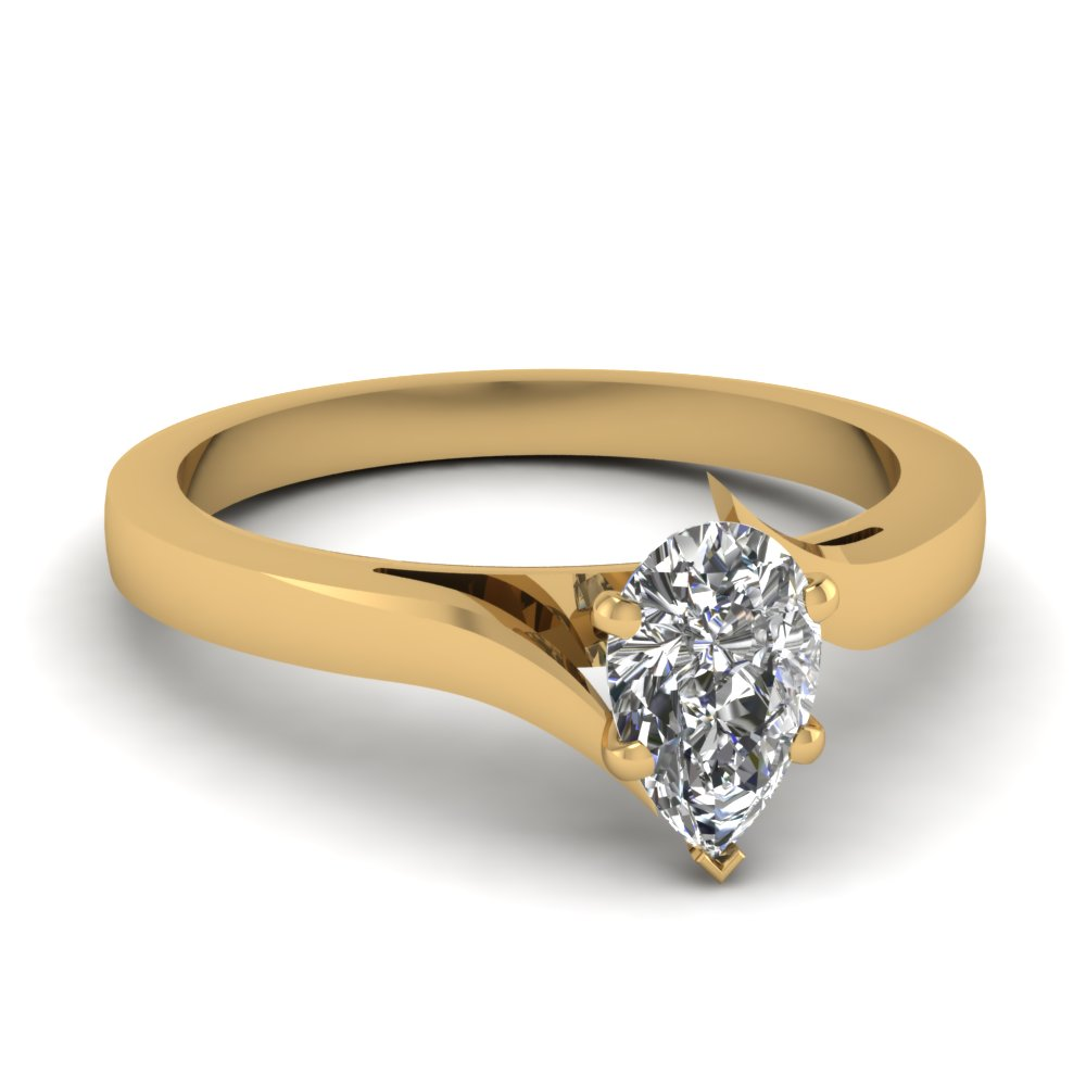 Twisted Pear Shaped Solitaire Ring