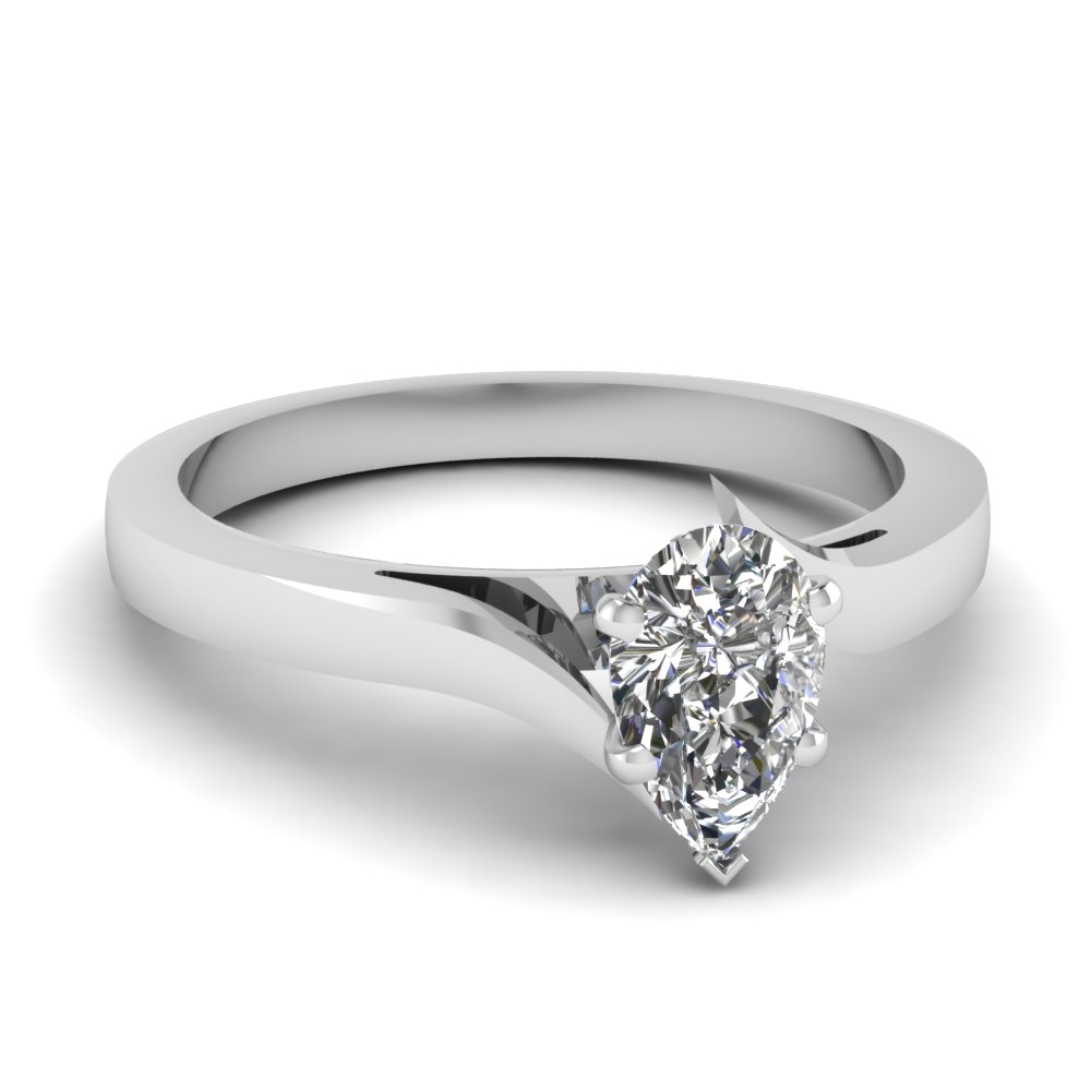 twisted pear shaped solitaire moissanite engagement ring in 18K white gold FD1020PER NL WG