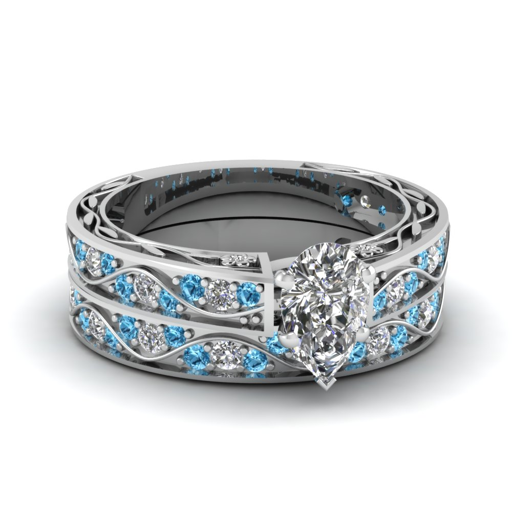 pear shaped antique diamond filigree wedding set with blue topaz in FDENS3543PEGICBLTO NL WG