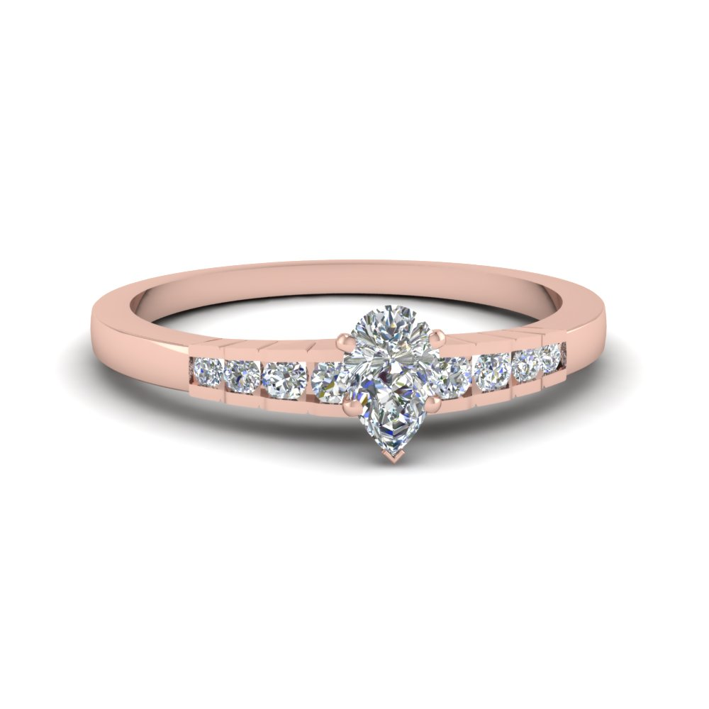 Pear Shaped Diamond Petite Engagement Rings With White Diamond In 14k Rose  Gold