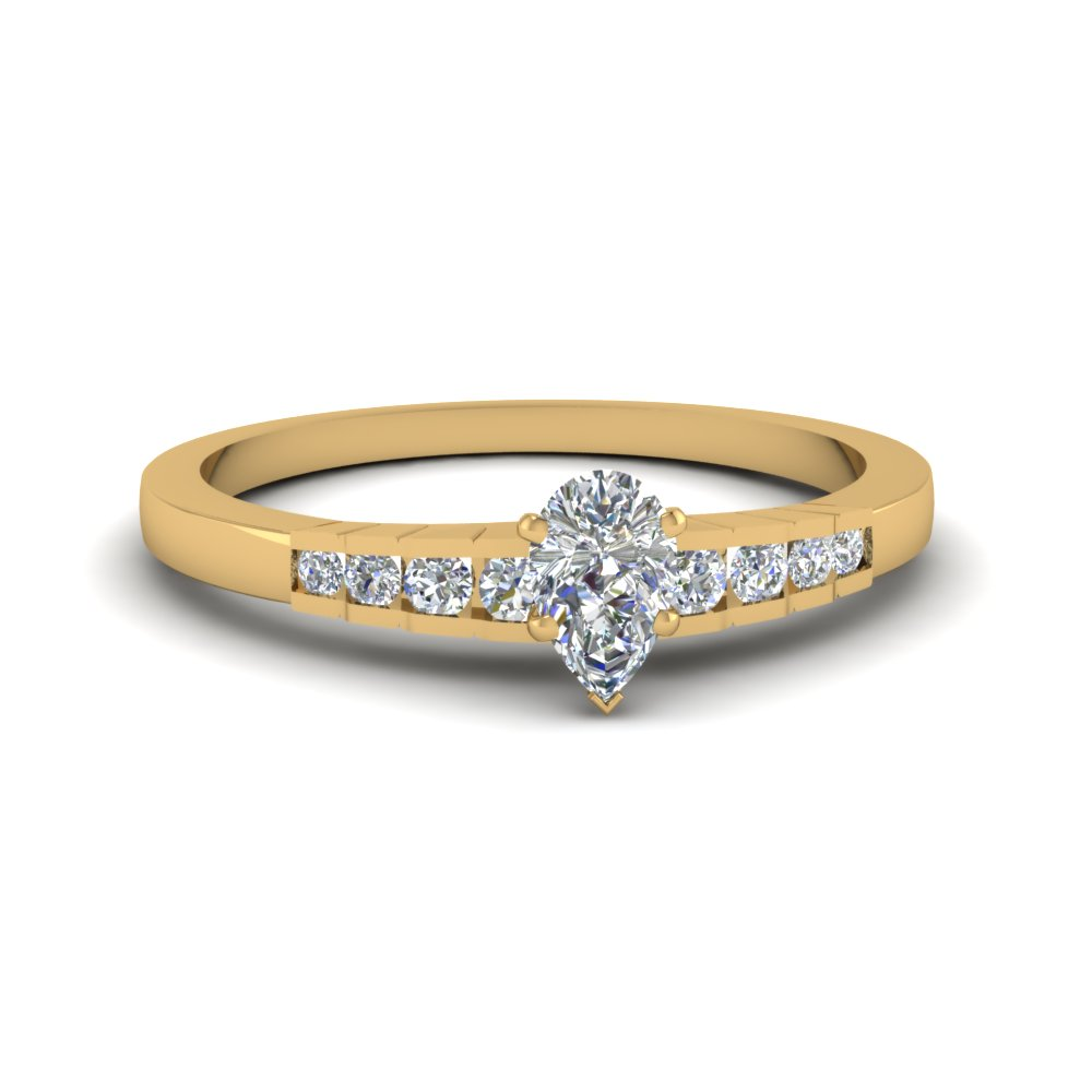 pear shaped diamond simple petite engagement ring in 14k yellow gold fdens3116per nl yg - Affordable Diamond Wedding Rings