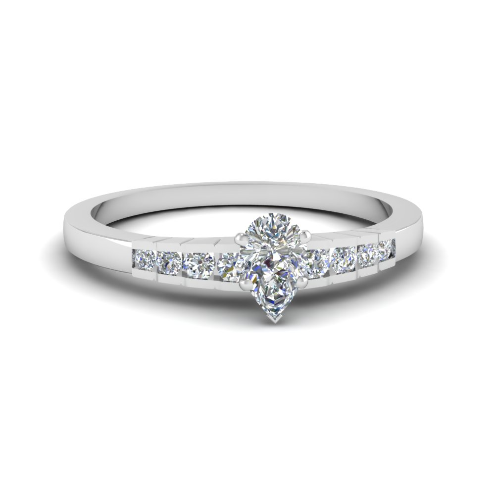 pear shaped diamond simple petite engagement ring in 950 Platinum FDENS3116PER NL WG