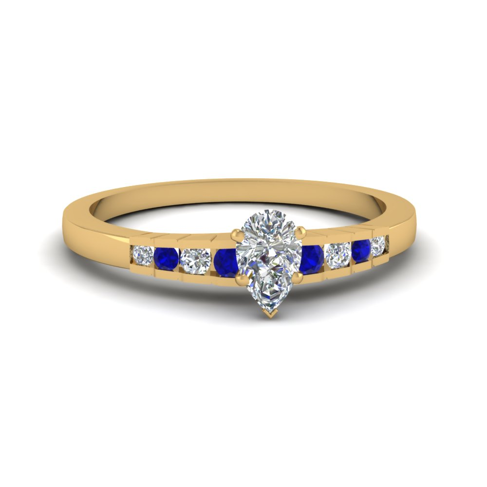 pear shaped diamond simple petite engagement ring with blue sapphire in 14K yellow gold FDENS3116PERGSABL NL YG