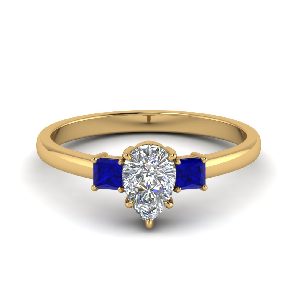 3 stone pear shaped engagement ring with sapphire in 18K yellow gold FDENS3107PERGSABL NL YG