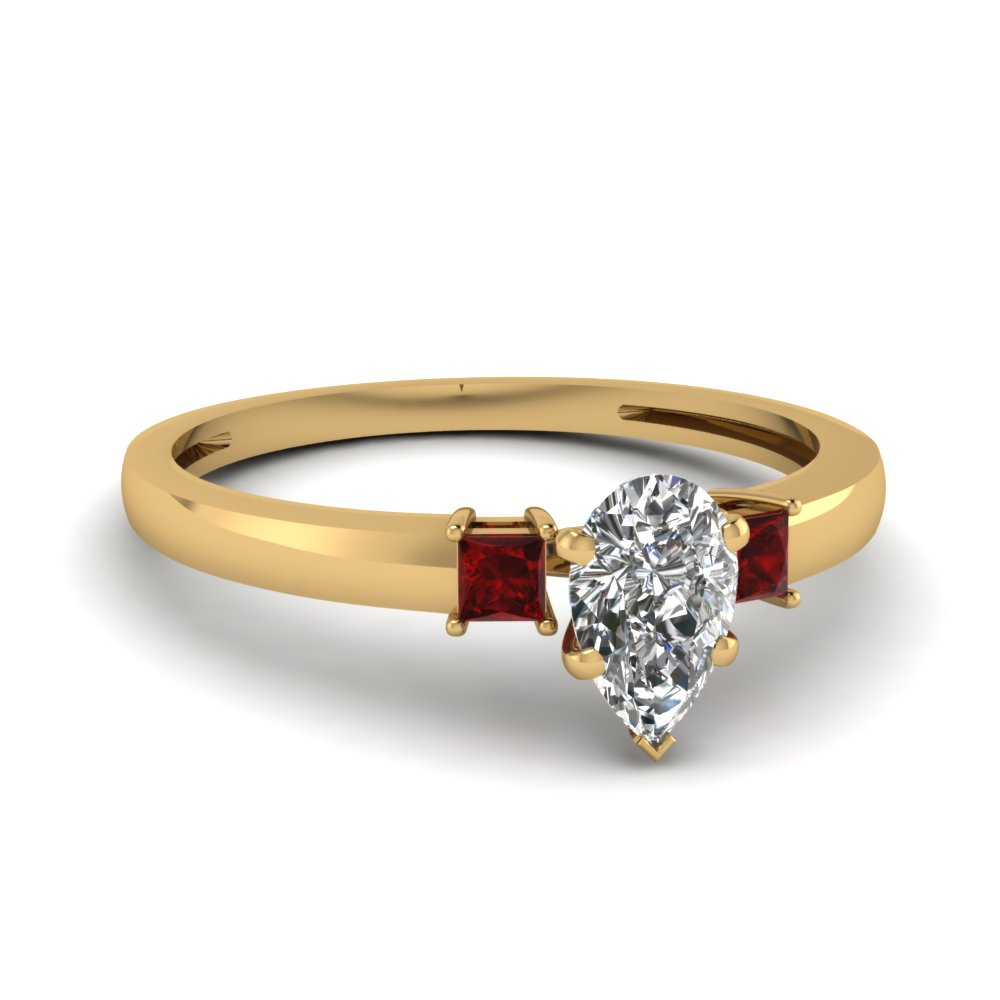 3 stone pear shaped engagement ring with ruby in 14K yellow gold FDENS3107PERGRUDR NL YG