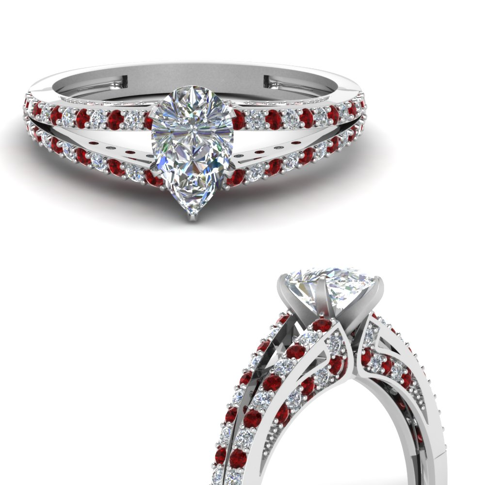 split pear diamond engagement ring with ruby in FDENS3131PERGRUDRANGLE3 NL WG
