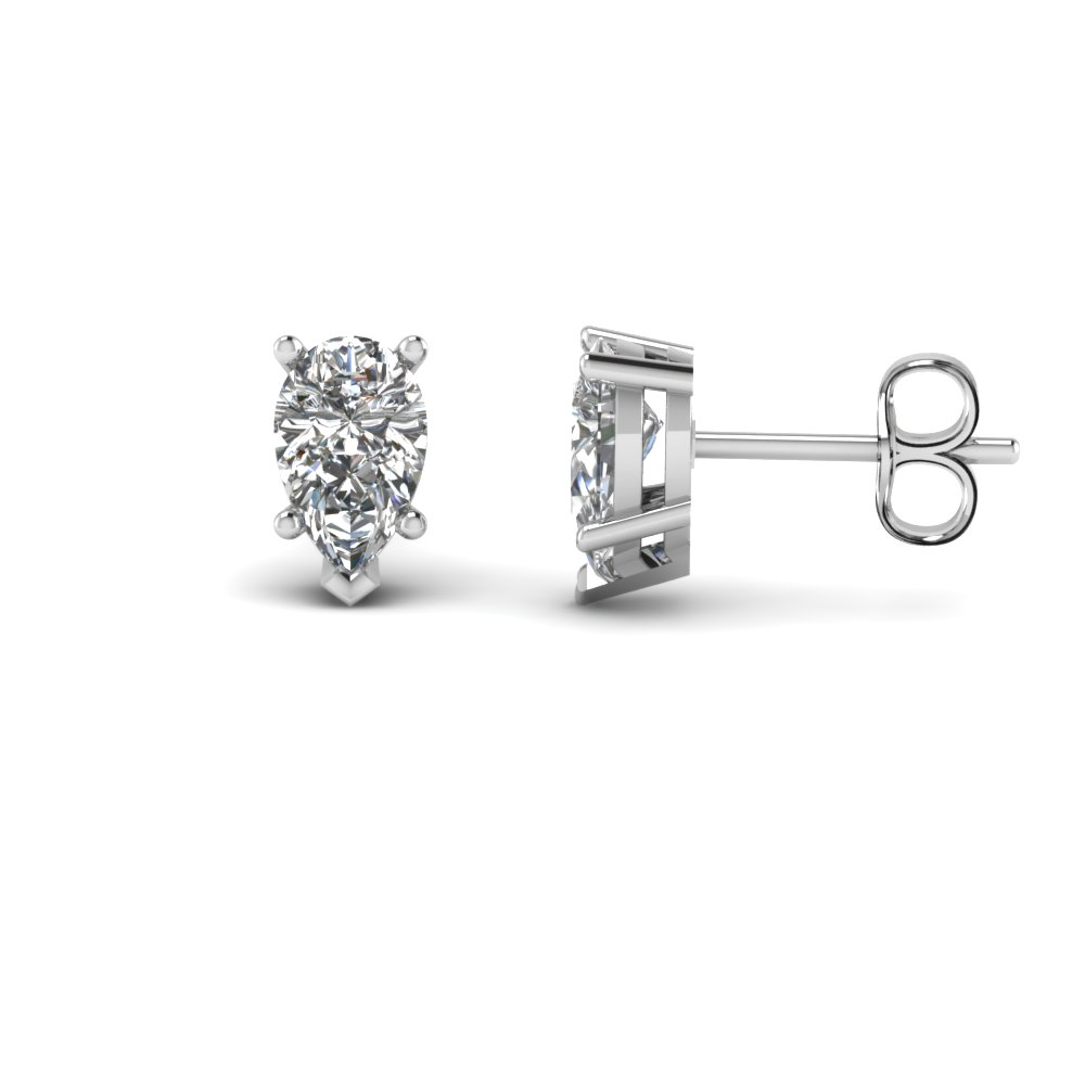 pear shaped diamond stud earring 2 ct. in 14K white gold FDEAR5PE1CT NL WG