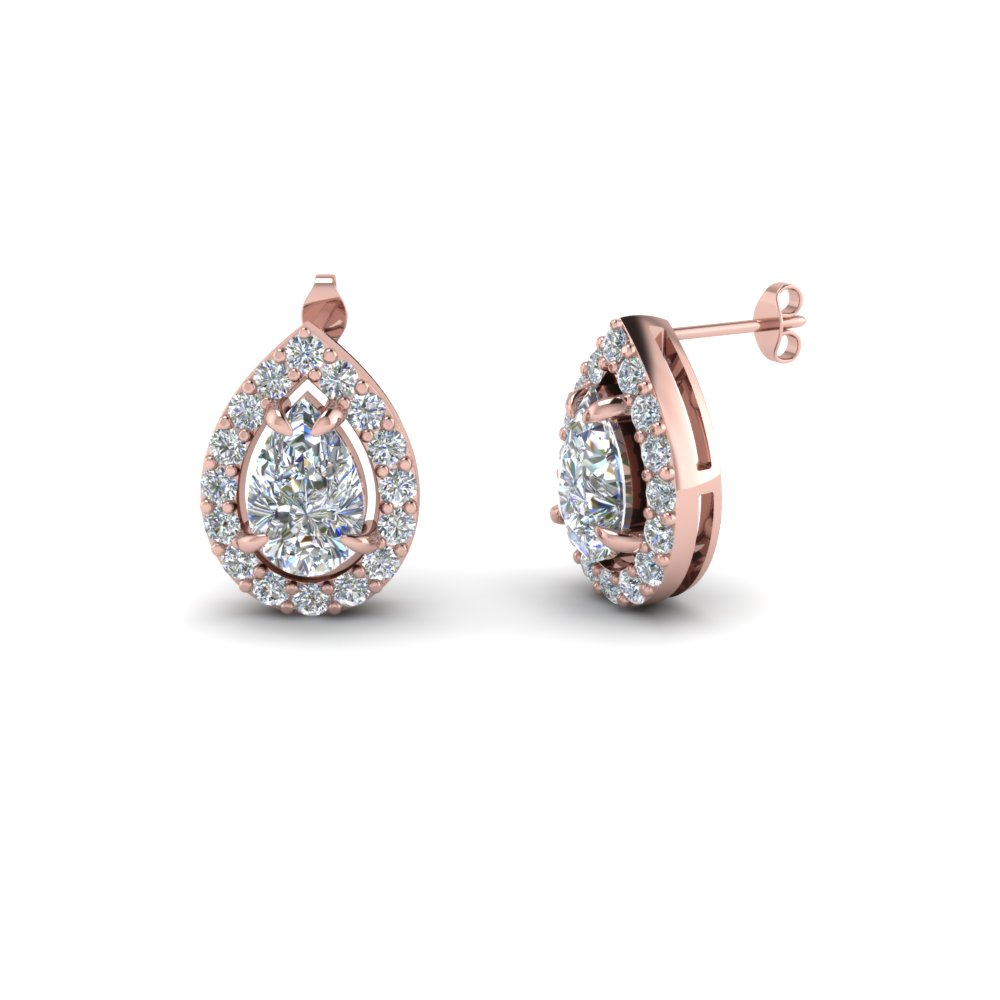 Pear Shaped Diamond Stud Earrings In 14k Rose Gold Fdear1186pe Nl Rg