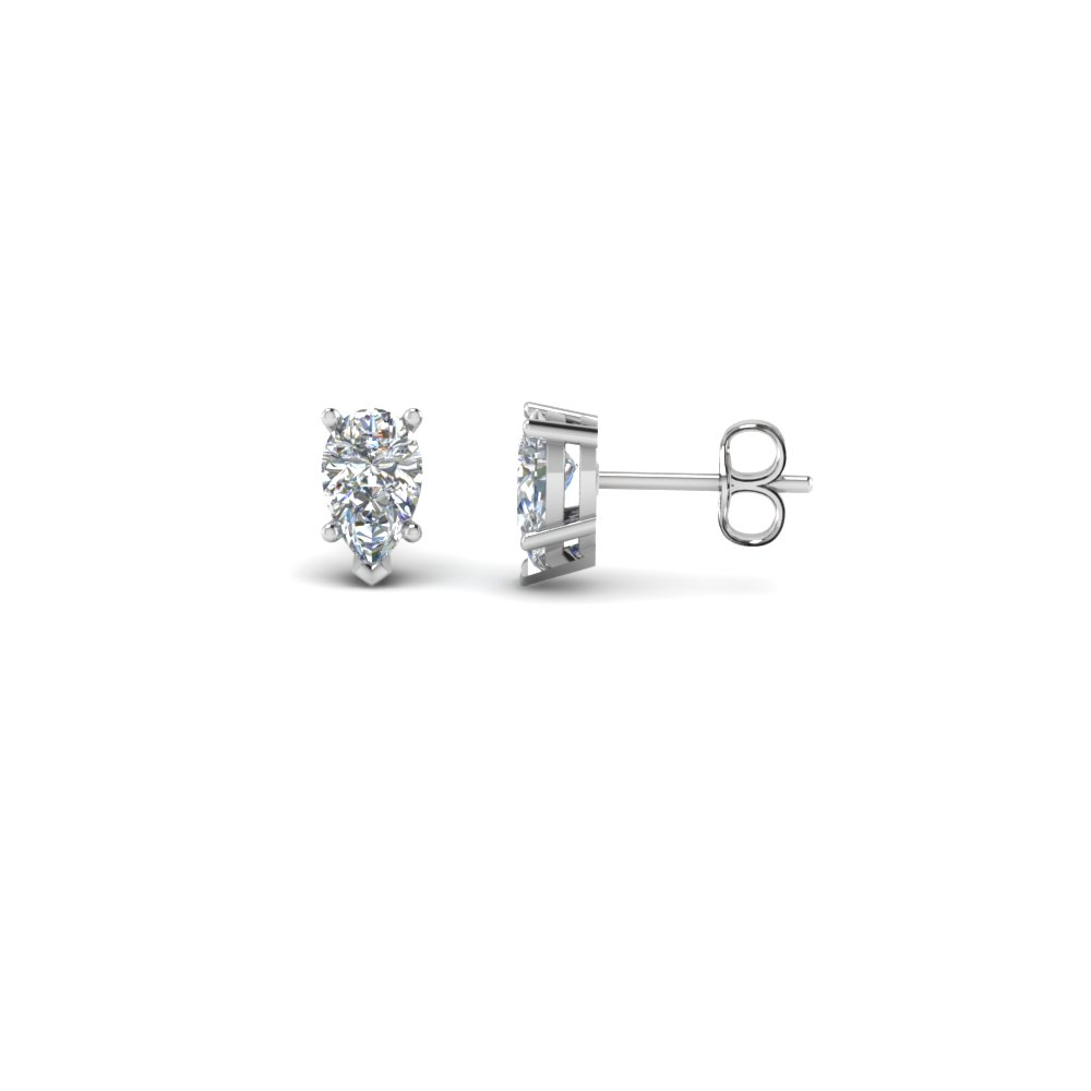 Pear Shaped Diamond Stud Earrings In 14K White Gold