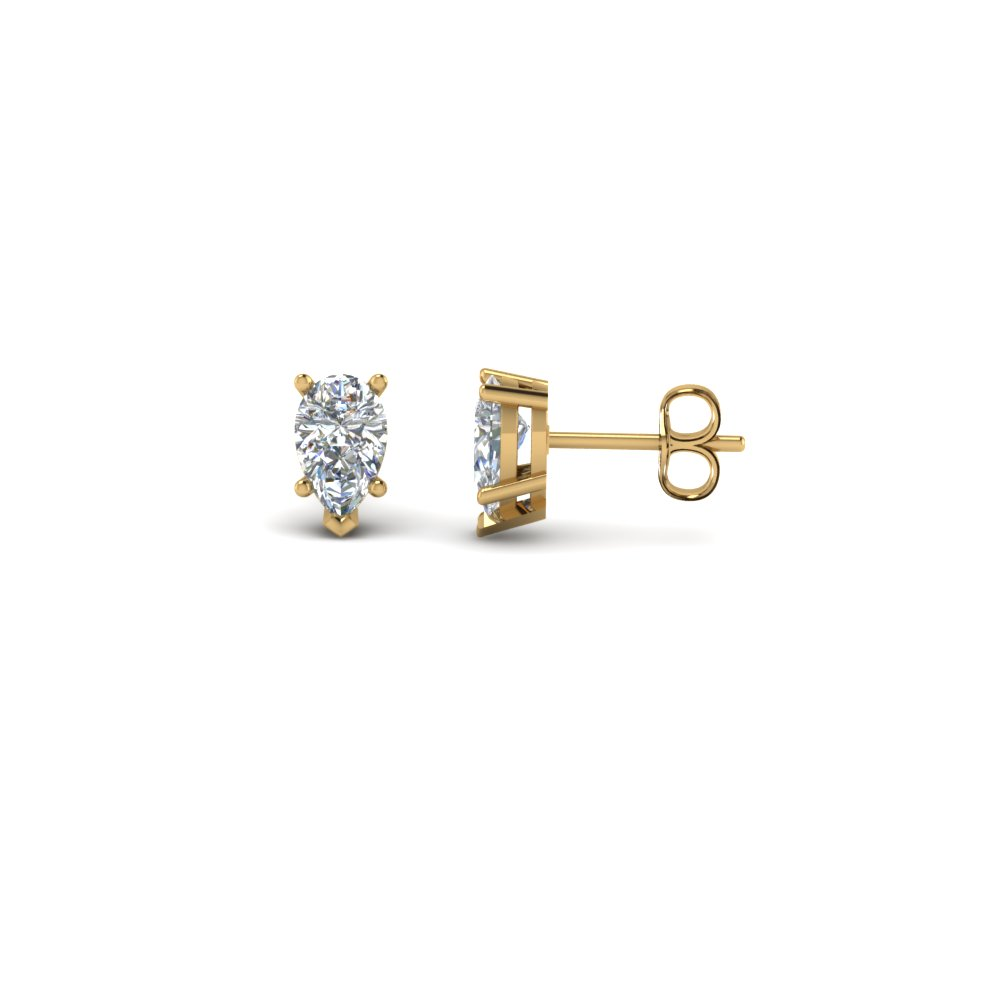 5 Prong Pear Diamond Stud Earrings