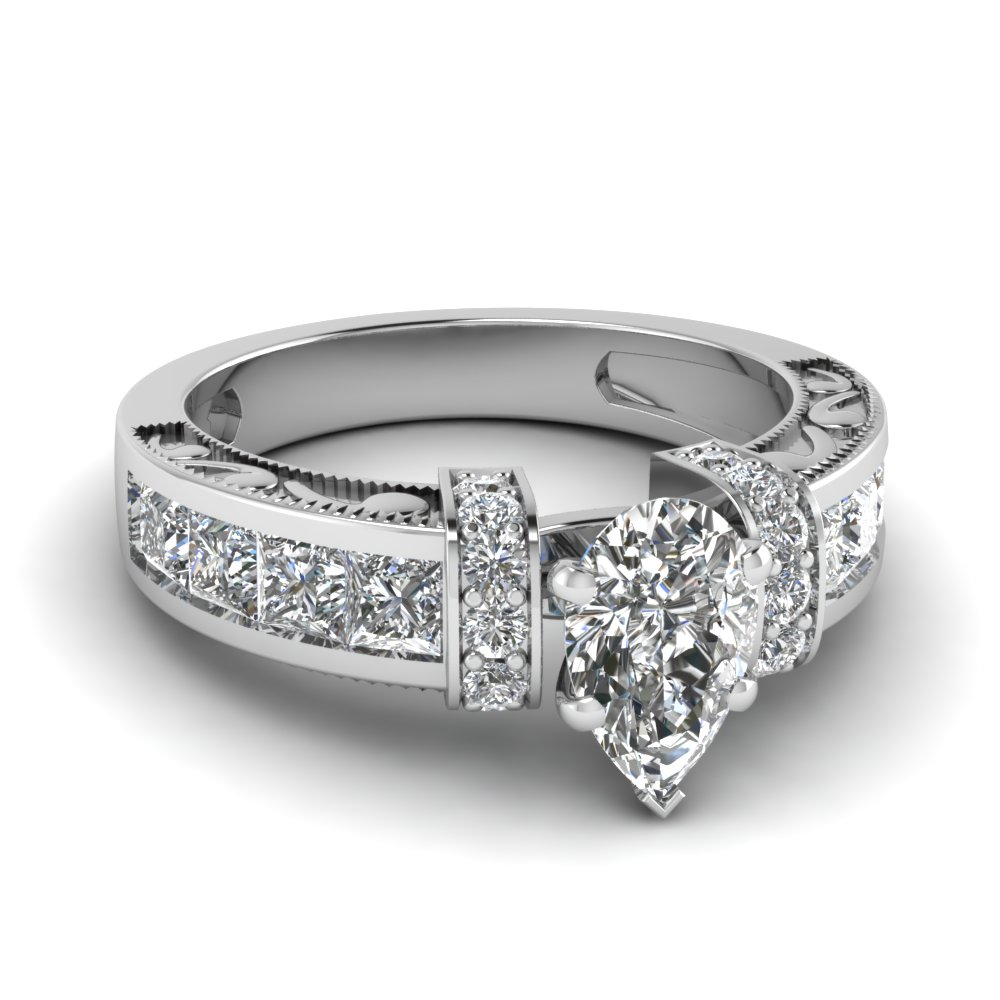 Pear Shaped Diamond Symphony Vintage Engagement Ring In 950 Platinum